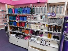 2 x Bays of shop display shelving and contents, including assortment of Osmo shampoos and