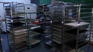 5 x Bakery Racking Trolley with Quantity of Trays