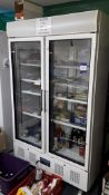 Polar CD984-02 944Ltr Upright Double Door Display Fridge, Serial Number CD984-02 6081498, 240v (