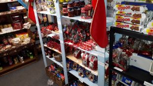 Racking and Contents to Shop Store to include Various German Cakes, Biscuits, Crisps, Pickles,