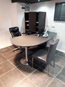 Grey Laminate Kidney Shape Desk, Matching Storage Unit, Multi Swivel Executive Chair & Side Chair