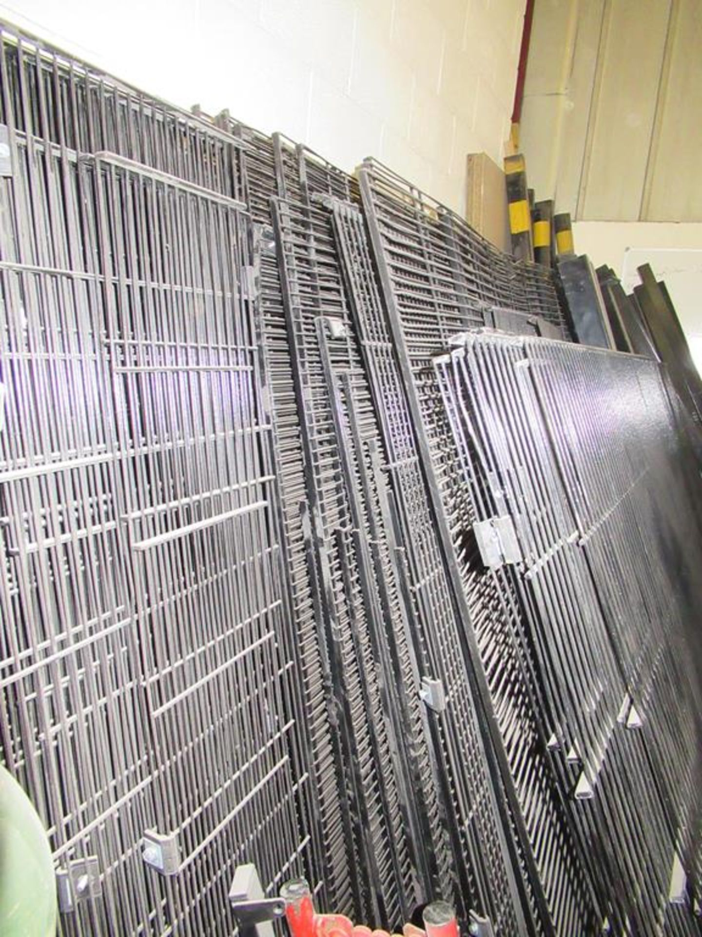 Lot 47 - Large qty of Black Mesh Steel Fencing and Posts, Clips