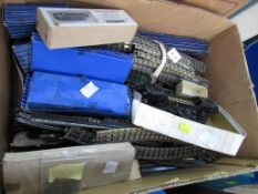 A large box of Hornby Dublo Track (100+ rails) Boxed and Loose Wagons, Points etc