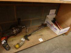 "A Bosch 110V Hammer Drill, burning gun and Simonds 7"" Files"