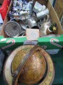 A Box of Collectables to include Pewter Ware , Brass, Table Globe etc