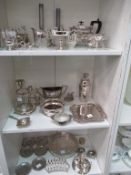 Three Shelves of Silver Plated Items etc