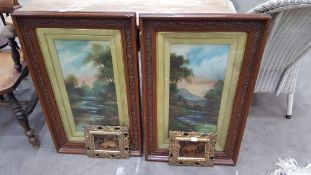 A Pair of Oil on Board Paintings signed 'Reynolds' and Crystoleums