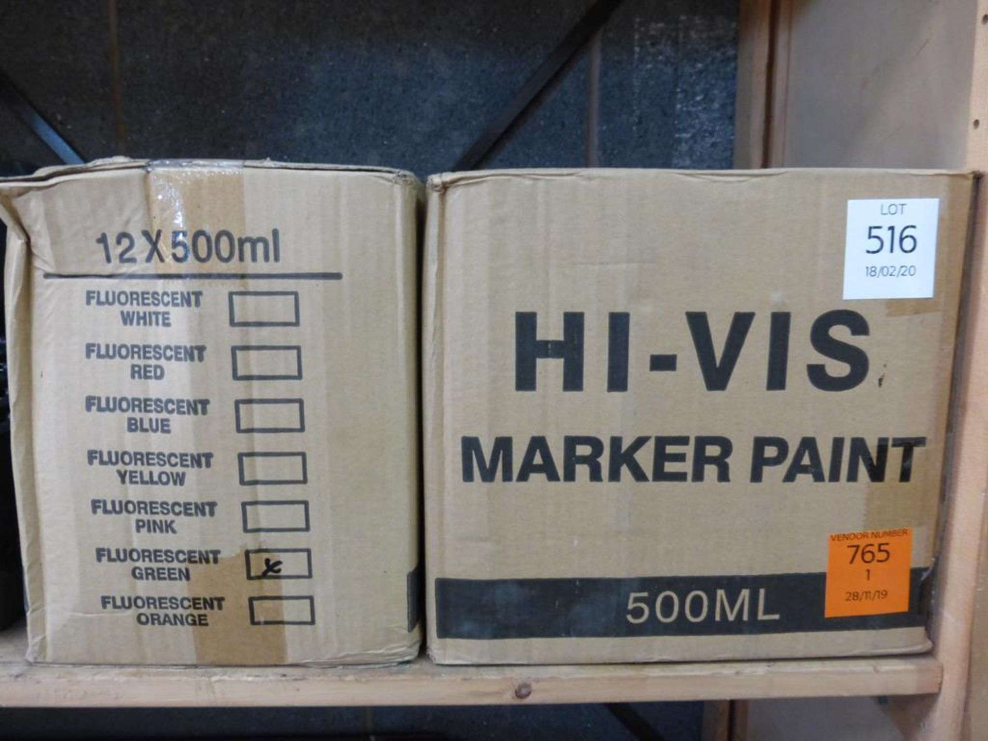 Lot 516 - 2 X Boxes of Hi-Vis Marker Paint, 1 X Green, 1 X Red