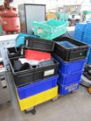 Pallet of Various Plastic Boxes