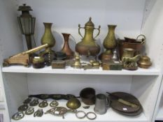 Two Shelves of Assorted Metalware