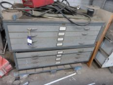 2 x Four Drawer Steel Plan Chests