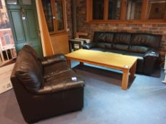 3 Seater & 2 Seater Sofa in Brown Leather & 1600x7