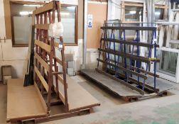 2 x A frame glass racks, and 2 x mobile racks
