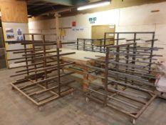 4 x Mobile racks, and mobile workbench