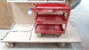 Four wheel timber trolley, 8' x 4', and Clarke trolley