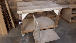 Mobile workbench, 130cm x 80cm, and platform trolley