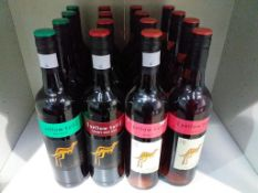 Sixteen bottles of Yellow Tail Wine: Eight bottles of 2012 Rose wine, four bottles of Jammy Red Roo