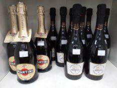 Three bottles of Martini Prosecco D.O.C. and nine bottles of Casato Dei Tini Millesimato Prosecco D.