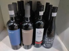 Nine bottles of Gallo Family Vineyards 2017 Cabernet Sauvignon red wine, two bottles of The Long Way