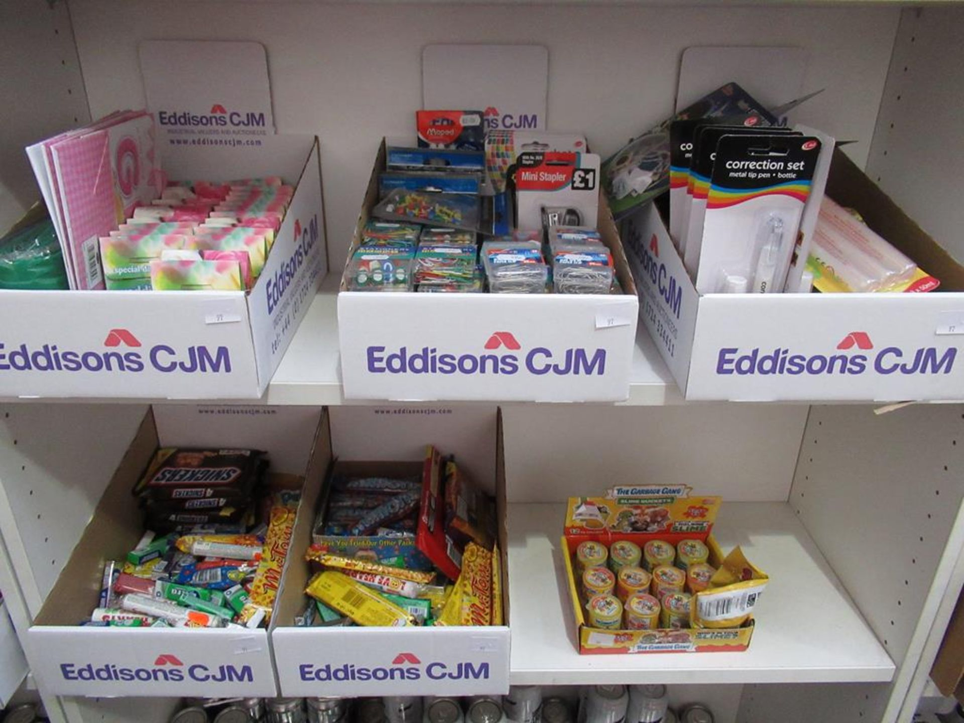 Lot 97 - 2 x shelves to include of Sweets, Slime, Stationary etc