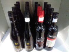 Twelve bottles of Hilltop Moon River Pinot Noir, two bottles of Rosemount Estate Shiraz Red Wine and