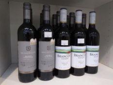 Twelve bottles of McGuigan Bin No 736 Shiraz Viognier 2014 Red Wine and three bottles of Brancott Es
