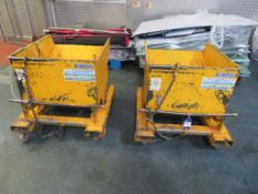 2 x Contact 1 Tonne Capacity Tipping Skips