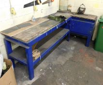 L Shaped Work Table 8ft x 4ft approx. & 6ft x 4ft