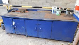 Steel Lockable Cabinet & Worktable 8.5ft x 3ft x 3