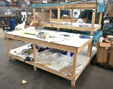 3 Various Wood Framed Assembly Benches, 8ft x 4ft