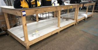 2 Various Wood Framed Assembly Benches, 8ft x 4ft