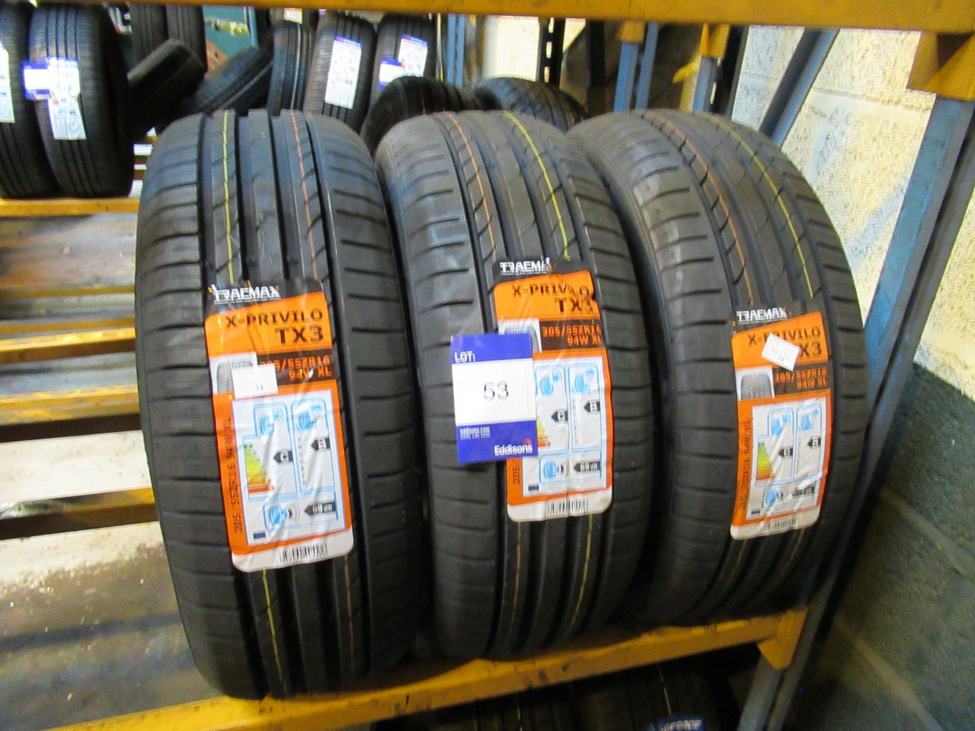 Lot 53 - 3 x Tracmax 205/55 x 16 Tyres