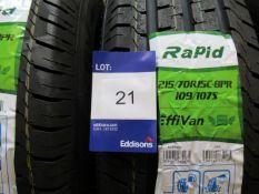 3 x Rapid 215/70x15 8 PR Tyres