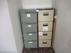 2 Various Metal 4 Drawer Filing Cabinets