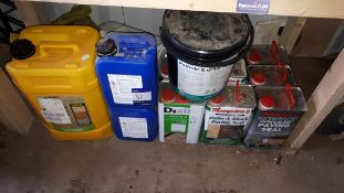 Assortment of new / part-used materials and sealants, including S.B.R Bond, Patio and Block paving