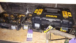 Assortment of electrical hand tools, including 4 x DeWalt cordless drills, DeWalt jigsaw, and