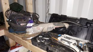 Assortment of electrical handtools, including MacAllister reciprocating saw, Sparky MBS976E belt