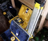 Assortment of site surveying equipment, including Leica Rugby 610 laser, Power Master laser level