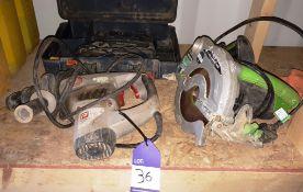 Bosch GST 100 BCE jigsaw, Evolution Fury circular saw, and ProPower PRH850A rotary hammer drill