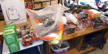 Assortment of safety equipment including gloves, gel knee pads, ear protectors, 4 x EN149