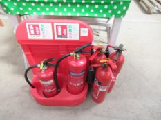 5 x various Fire Extinguishers and Stand