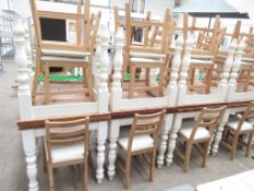 6 x Matching Square Tables and 12 x matching chairs