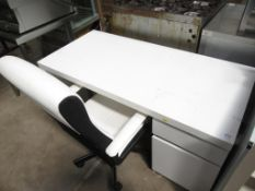 A White Wooden Desk with Operator Chair