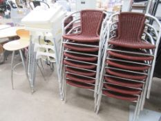 34 x Matching Stackable Chairs, 4 x High Chairs and other various Café Chairs