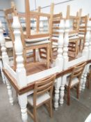 4 x Matching Square Café Tables and 8 matching chairs