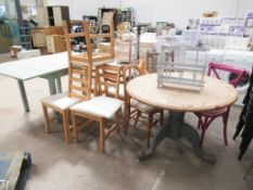 A Round Table, 5 x matching chairs, an Extendable Table and 3 x various chairs etc