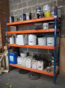 4 Tier Boltless Shelving & Contents Including Quantity of Paints, Solvents, Oils etc.
