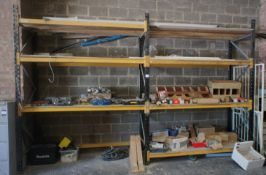 2 Bays of Pallet Racking comprising of 3 End Frames 3m, 12 Crossbeams 2.2m and Contents including