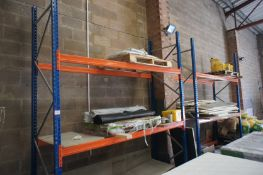 2 Bays Pallet Racking 4 Uprights 3.5m, 10 Crossbeams including 4 Bags Cement, 5 Rolls Visqueen, 5