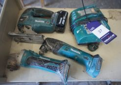Makita Cordless Tools, Jigsaw, Angle Drill, Grinder, 1 x Battery & Charger